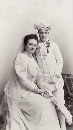 Archduchess Maria Dorothea of Austria and little brother, Archduke Laszlo. Late 1880s.