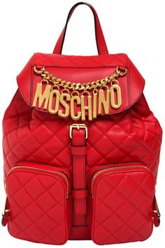 MOSCHINO Red Quilted Nappa Leather Backpack