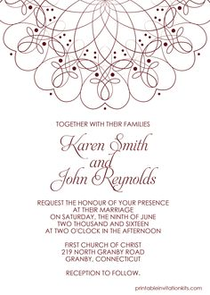 Spiral Border Invitation   Free PDF Template For Weddings And Events