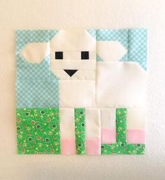 New Easter Quilt Patterns: Little Lamb Quilt Block + {free Pillow Tutorial} - ellis & higgs - New Easters quilt patterns by Nadra Ridgeway of ellis & higgs. The Lamb quilt block is one of ten s - Farm Animal Quilt, Farm Quilt, Amische Quilts, Mini Quilts, Patchwork Quilt Patterns, Paper Piecing Patterns, Quilt Baby, Quilting Projects, Quilting Designs
