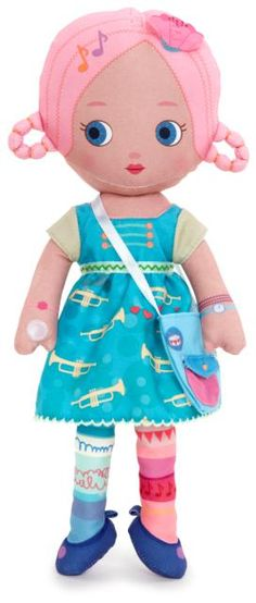 Nessa™ loves listening to music and learning how to play intsruments. Each Mooshka™ includes: Finger puppet doll, Paper doll chain, Giftable box, Machine Washable. #mooshka #mooshkadolls