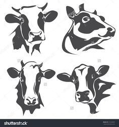 cow head portrait, set of stylized vector symbols - Skizzieren Cow Tattoo, Cow Logo, Cow Drawing, Holstein Cows, Cow Pictures, Cow Head, Stencil Art, Stencils, Cow Art