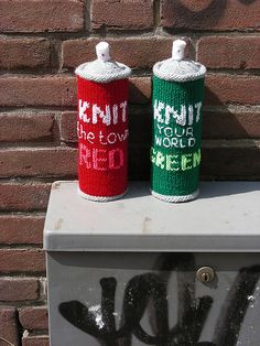 Knitted graffiti 'paint' spray cans. knitted for the graffiti tunnel in London august 1 2009. 'Gritting the tunnel'