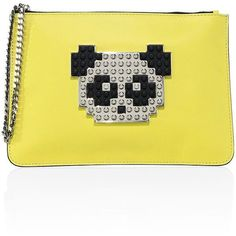 Les Petits Joueurs Envelope Small Panda Leather Clutch (22,005 MKD) ❤ liked on Polyvore featuring bags, handbags, clutches, handbags - italian designers, yellow, leather clutches, leather handbags, yellow purse, chain purse and handbag purse