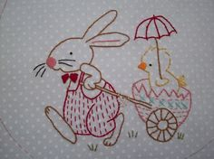 MADE - Easter embroidery Pearl Liu Sutton Hicks Westcott Linn ummm hello - where's mine? Hand Embroidery Stitches, Hand Embroidery Designs, Vintage Embroidery, Embroidery Applique, Cross Stitch Embroidery, Machine Embroidery, Red Brolly, Needlework, Sewing Projects
