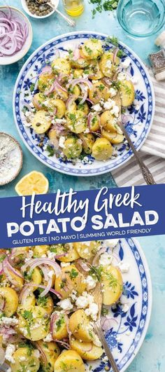 Greek potato salad - Supergolden Bakes Make this Greek Potato Salad once and it will become your go-to side dish for all picnics and barbecues. This healthy potato salad contains no mayonnaise, is gluten free, vegetarian and Slimming World friendly too! Slimming World Potato Salad, Slimming World Vegetarian Recipes, Healthy Recipes, Veggie Recipes, Appetizer Recipes, Dinner Recipes, Cooking Recipes, Slimming World Salads, Greek Food Recipes