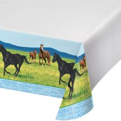 Wild Horses 54 x 108 Plastic Tablecover Border Print/Case of 6 https://www.ktsupply.com/products/32786326487/Wild-Horses-54-x-108-Plastic-Tablecover-Border-PrintCase-of-6.html