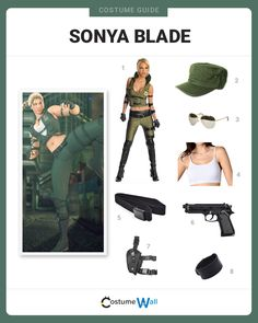 The best cosplay guide for dressing like Sonya Blade, a General who was an original character and first female fighter in the Mortal Kombat video game. Sister Halloween Costumes, Halloween Movie Night, Got Costumes, Video Game Costumes, Video Game Cosplay, Cosplay Costumes, Halloween 2020, Costume Ideas, Mortal Kombat Costumes