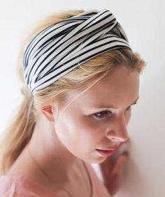 Look at this #zulilyfind! Black & White Stripe Hair Scarf #zulilyfinds