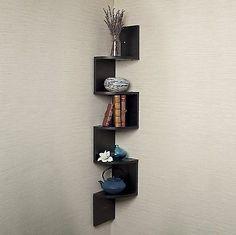 Walnut Corner Wall Mount Decor Home Wood Storage Display Zig Zag Book Shelf