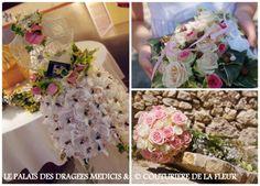 Ballotin de dragées mariage   prénté sur un buste avec un décor en fleur naturelle......