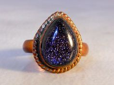 Vintage Copper Midnight Blue Goldstone   Size 7    Tear Drop Cut by GemstoneCowboy on Etsy