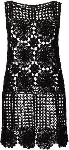Black Crochet Flower Cover Up - Lyst