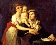 "Camille Desmoulin and wife ""Lucile"" with son ""Horace."" The couple was executed during the French Revolution. Painted by Jacques-Louis David. 1792."