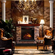Sirio Stacked Stone Mantel Electric Flame Fireplace | Overstock.com Shopping - Great Deals on Indoor Fireplaces