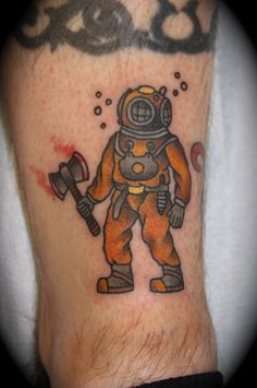 More hooyah...deep sea diver tattoo in traditional style