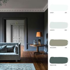 A dominant, bold shade can be used to frame colours from room to room. 'Squid Ink', although a dark tone, evokes a gentle feeling creating… Paint Color Schemes, Paint Colors, Paint And Paper Library, Victorian Living Room, Kitchen Units, Painted Paper, House Colors, Color Inspiration, New Homes