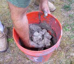 Gather mud in a bucket