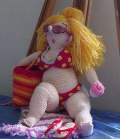 Barbara the beach babe by Shortfatfairy. This is hilarious I love it! (Finished doll available to buy on Etsy).