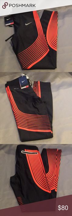 NWT Nike DriFit Black & Orange Running Pants NWT Nike DriFit Black & Orange Running Pants. Drawstring tie and elastic waist. Also available in Maroon & Orange and Black & Gray. Checkout my other listings and add to a bundle to save! Nike Pants Sweatpants & Joggers