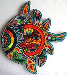 Mexican Huichol Sun and Moon yarn painting by Aramara on Etsy Yarn Painting, West Art, Mexican Art, My Etsy Shop, Arts And Crafts, Moon, Beads, Unique Jewelry, Handmade Gifts