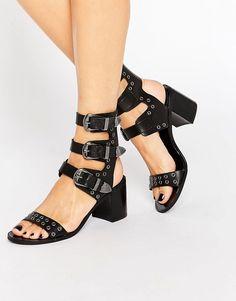 Image 1 ofMango Triple Buckle Western Sandal