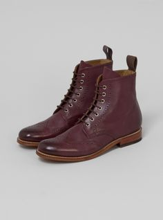 e11b960168f Couverture and The Garbstore - Womens - Grenson - Ella Burgundy Calf Grain  Brogue Boot