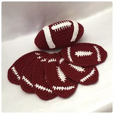 Football Coaster Set Crochet Pattern - American Football - Fathers Day gift ideas