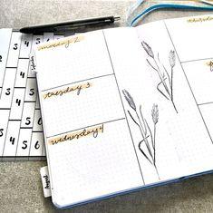 Simple weekly layout. #bulletjournal #moxiedori Botanical Line Drawing, Botanical Drawings, Bullet Journal Notes, Bullet Journal Spread, Bullet Journal Inspiration, Journal Ideas, Bujo Weekly Spread, Agenda Planner, Leaf Drawing