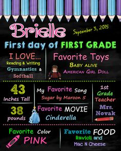 Last Day or First Day of First Grade Birthday Sign, Chalkboard poster