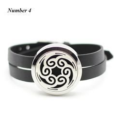 Aromatherapy Sporting 30mm Essential Oil Diffuser Locket Black Single Circle Leather Wrap Bracelet
