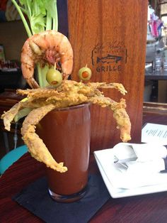 Bloody Mary Bar Raised With An Entire Fried Soft-Shell Crab