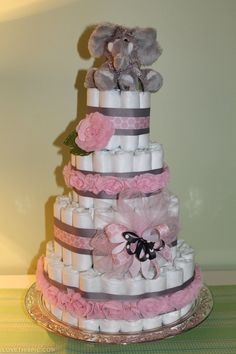 Diaper Cake pink bow ribbon baby shower baby shower ideas baby shower images baby shower pictures baby shower gifts baby girl diaper cake