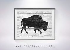 Bison art illustration print Bison painting Bison by SeasonsSpace