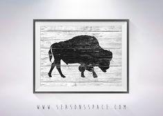Bison art illustration print Bison painting Bison by SeasonsSpace