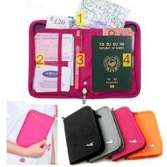 Travel Wallet Ticket Passport Credit Card ID Document Organizer Holder Bag Rose