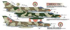 Impresión artística que muestra a los Sukhoi 22A Fitter-F peruanos con sus esquemas tácticos en color mimético