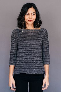 We love Leila's striped raglan, with its high, wide ballet neck and fitted yoke; its cool striping pattern; its raw-edge sleeve cuffs and hem. We went monochromatic on this piece, but Sparrow's palette offers so much in the way of making it your own.