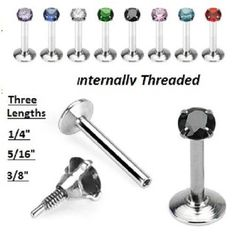 CZ Monroe Labret Internally Threaded Surgical Steel 16g 1/4 5/16 3/8 Tragus