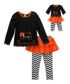 Dollie & Me Black & Orange Cat Outfit & Doll Outfit - Girls by Dollie & Me #zulily #zulilyfinds