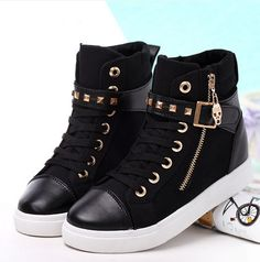 adidas high tops black and gold womens shoe Sneakers Mode, Casual Sneakers, Sneakers Fashion, High Top Sneakers, Fashion Shoes, Casual Shoes, Adidas High Tops, Cute Shoes, Me Too Shoes