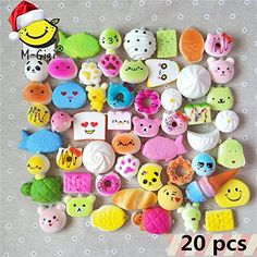 M-Gigi Random Squishy Cream Scented Slow Rising Kawaii Simulation Bread Children Toy, Soft Squishy Cake/Panda/Bread/Buns Phone Straps, Jumbo/Medium/Mini, 20 Piece - Recently, there are other shops to sell our products. If you buy, please look for M-Gigi shop, our products have proven quality, rapid logistics, and good after-sales service. Feature: Brand new and high quality cute & soft squishy package: 20pcs * randomly kawaii bread squishy charms size: Lengt...