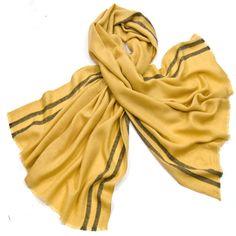 Etole laine fine jaune tissée avec rayures - Etole/Etole laine - Mes Echarpes