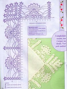"Pretty crochet lace edging with an even prettier corner pattern. Šema iz magazina ""ponto de cruz"""