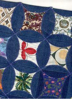 circle blue jeans quilt