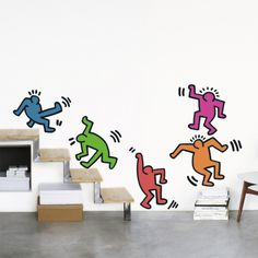 Five Dancing Figures Wall Decal by Keith Haring at Art.com