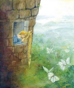 Rapunzel letting down her hair, from 'An Illustrated Treasury of Grimm's Fairy Tales'