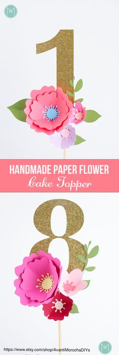 Use this gorgeous cake topper with awesome handmade paper flowers and a glitter number to decorate your cake! It will make your birthday pictures look amazing!