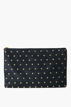 Oversized dark teal vegan leather clutch covered in gold star studs! Zip closure with logo charm detailing, fully lined interior with zip pocket. Comes with dust bag. Looks stellar with a chiffon blouse and leather mini! By Deux Lux.    *Synthetic Leather *13.75 width *9 height *8.75 depth