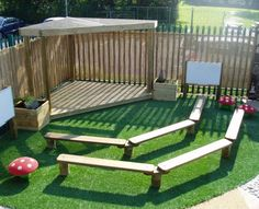Eyfs Outdoor Area, Outdoor Stage, Outdoor Theater, Outdoor School, Outdoor Classroom, Outdoor Fun, Outdoor Games, Natural Playground, Playground Design